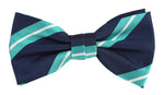 Navy/Aqua/White - Large Regimental Stripe Microfiber Bow Tie
