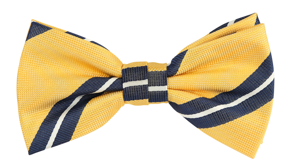 Gold/Navy/White - Large Regimental Stripe Microfiber Bow Tie