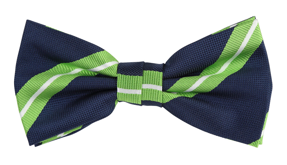 Navy/Lime/White -Large Regimental Stripe Microfiber Bow Tie