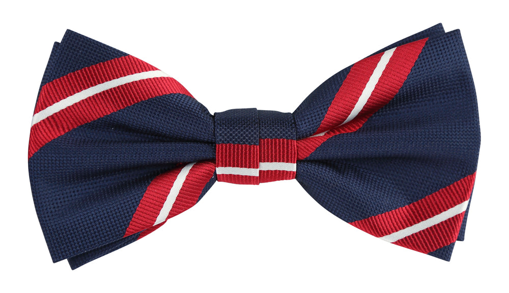 Navy/Red/White - Large Regimental Stripe Microfiber Bow Tie
