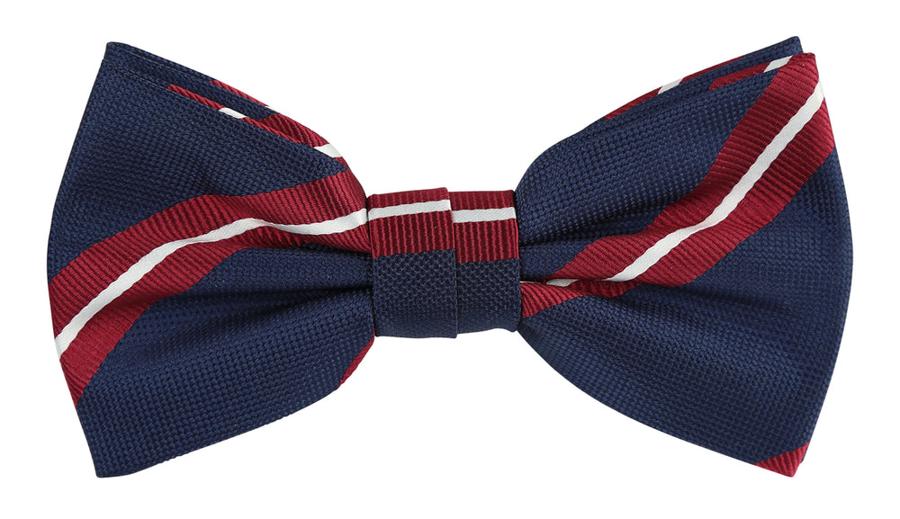 Navy/Burg/White - Large Regimental Stripe Microfiber Bow Tie