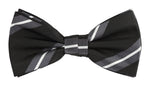 Black/Char/White - Large Regimental Stripe Microfiber Bow Tie