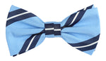 Sky/Navy/White - Large Regimental Stripe Microfiber Bow Tie