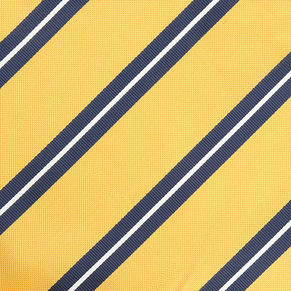 Gold/Navy/White - Large Regimental Stripe  Microfiber Pocket Square