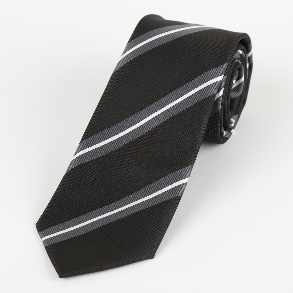 Black/Char/White - Large Regimental Stripe Microfiber Tie