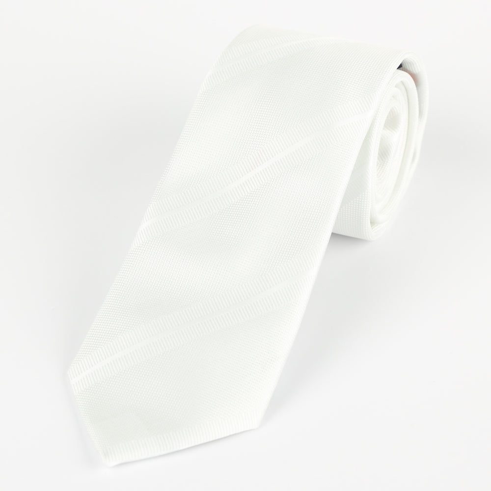 White - Large Regimental Stripe Microfiber Tie