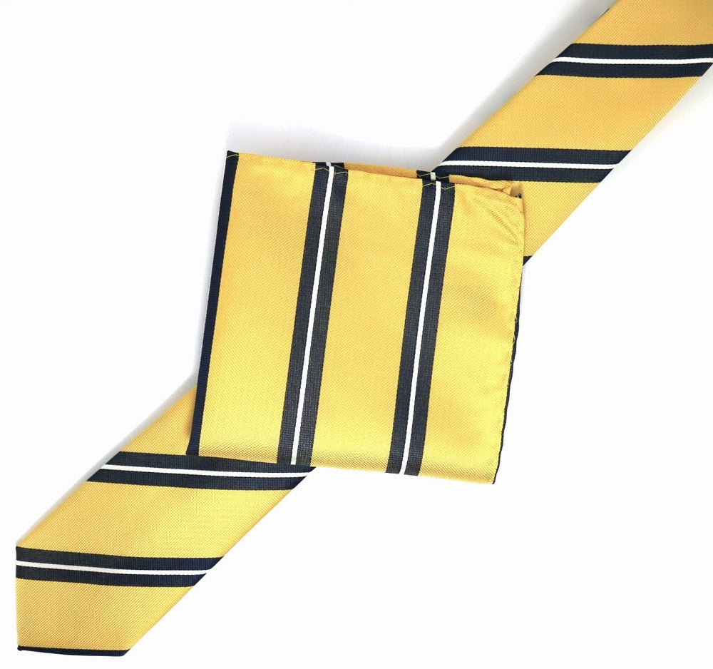 Gold/Navy/White - Large Regimental Stripe Microfiber Tie