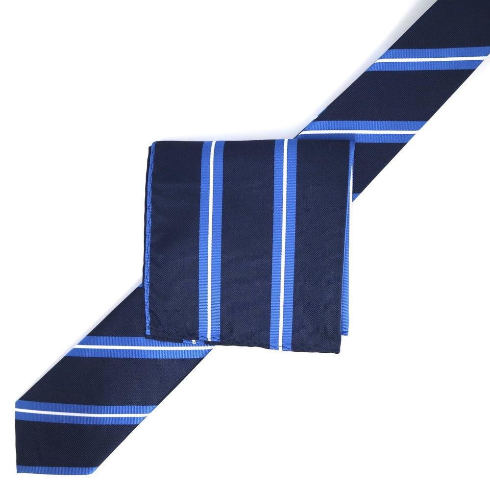 Navy/Royal/White - Large Regimental Stripe  Microfiber Pocket Square