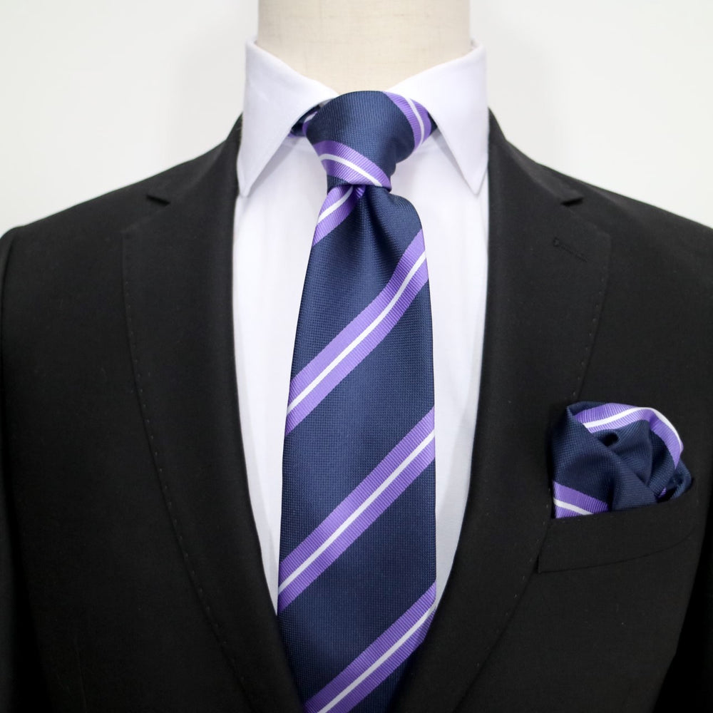 Navy/Purple/White - Large Regimental Stripe Microfiber Tie