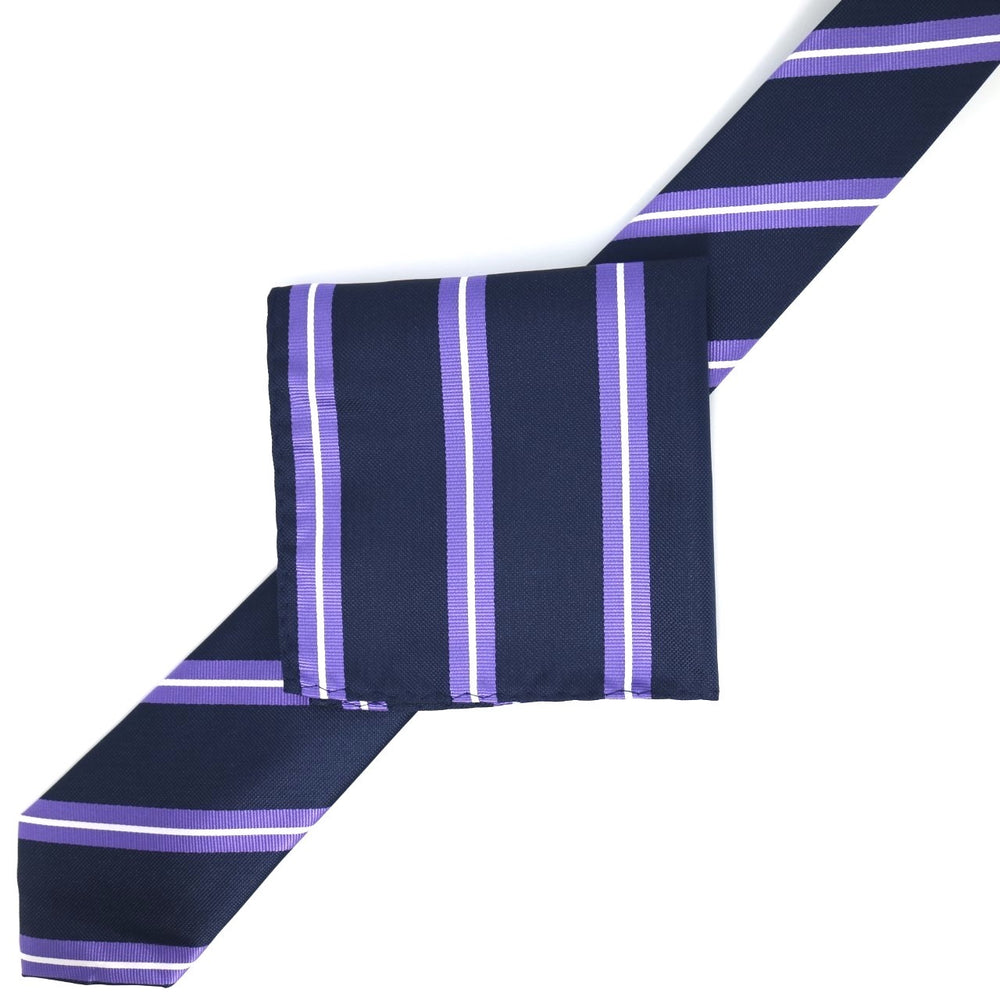 Navy/Purple/White - Large Regimental Stripe  Microfiber Pocket Square