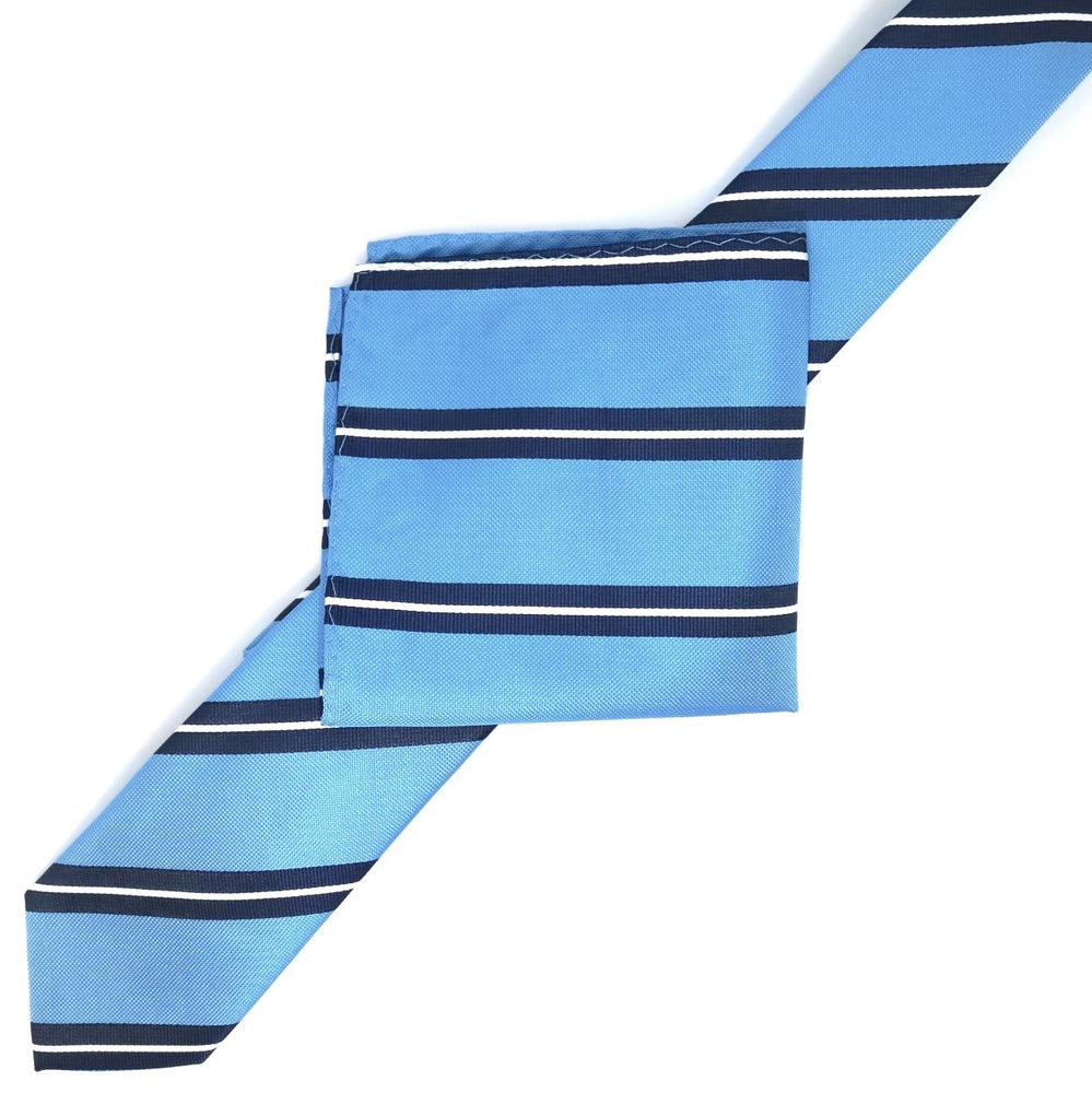 Turq/Navy/White - Large Regimental Stripe Microfiber Tie