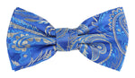 Royal/Blue/Silver - Luxury Paisley Microfiber Bow Tie