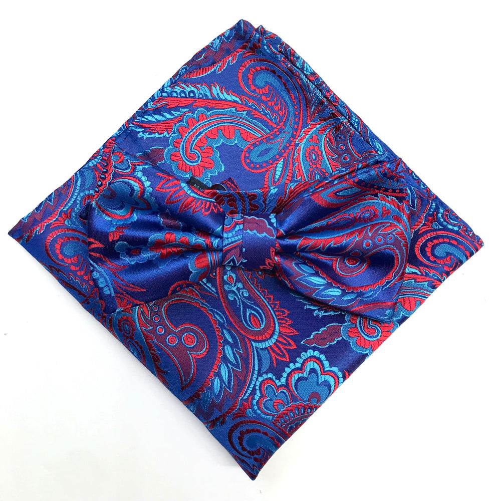 Royal/Blue/Red - Luxury Paisley Microfiber Pocket Square