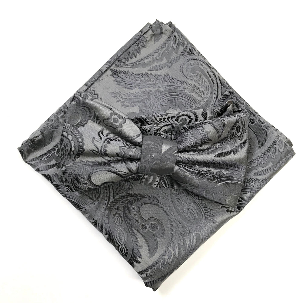 Grey/Char - Luxury Paisley Microfiber Pocket Square