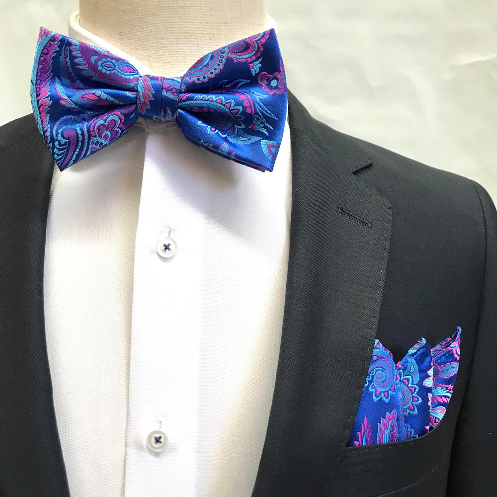 Royal/Sky/Pink - Luxury Paisley Microfiber Bow Tie