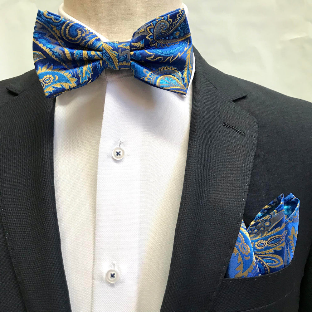 Royal/Blue/Beige - Luxury Paisley Microfiber Bow Tie