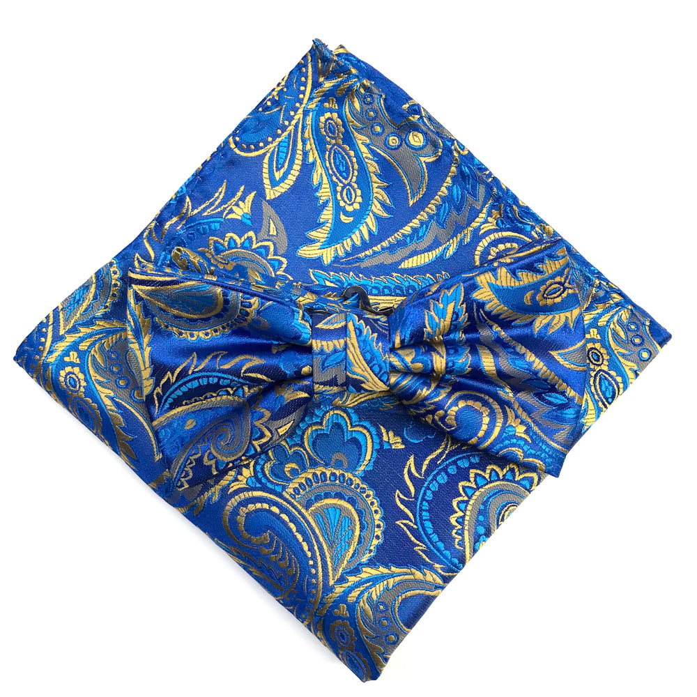 Royal/Blue/Beige - Luxury Paisley Microfiber Pocket Square