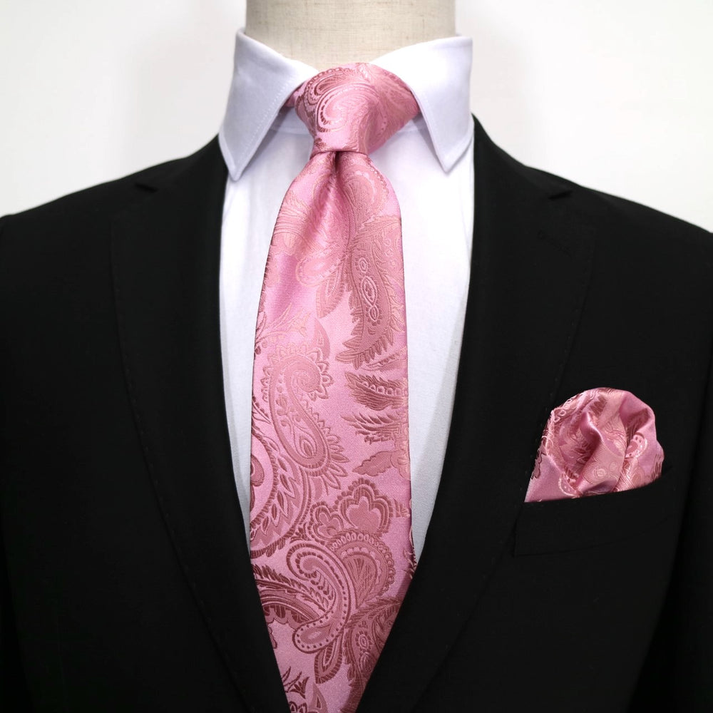 Pink/Soft - Pink Luxury Paisley Microfiber Pocket Square