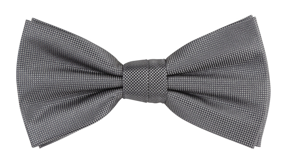 Charcoal - Subtle Textured Weave Microfiber Bow Tie