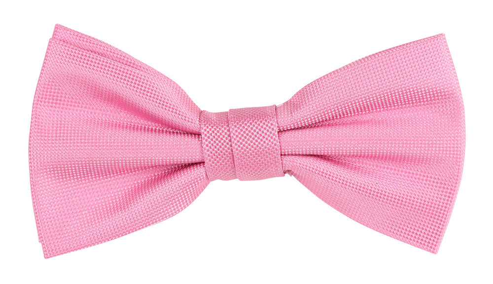 Pink - Subtle Textured Weave Microfiber Bow Tie