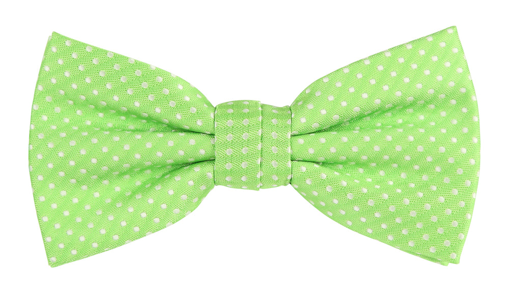 Lime/White - Mini Spot Microfiber Bow Tie