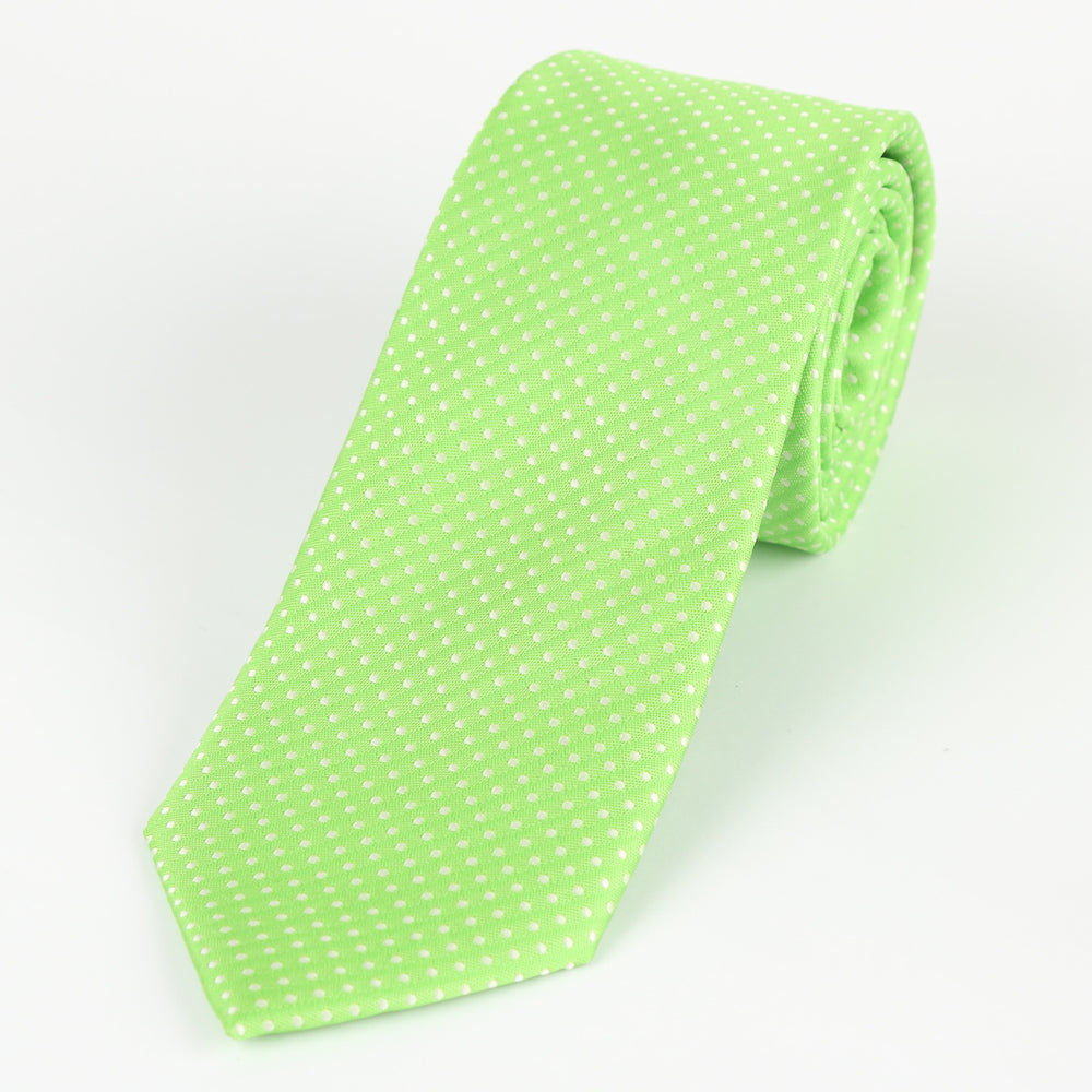 Lime/White - Mini Spot Microfiber Tie