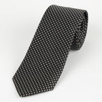 Black/White - Mini Spot Microfiber Tie