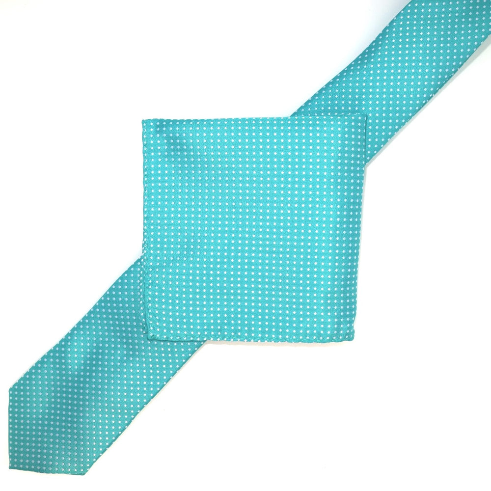 Aqua/White - Mini Spot Microfiber Pocket Square