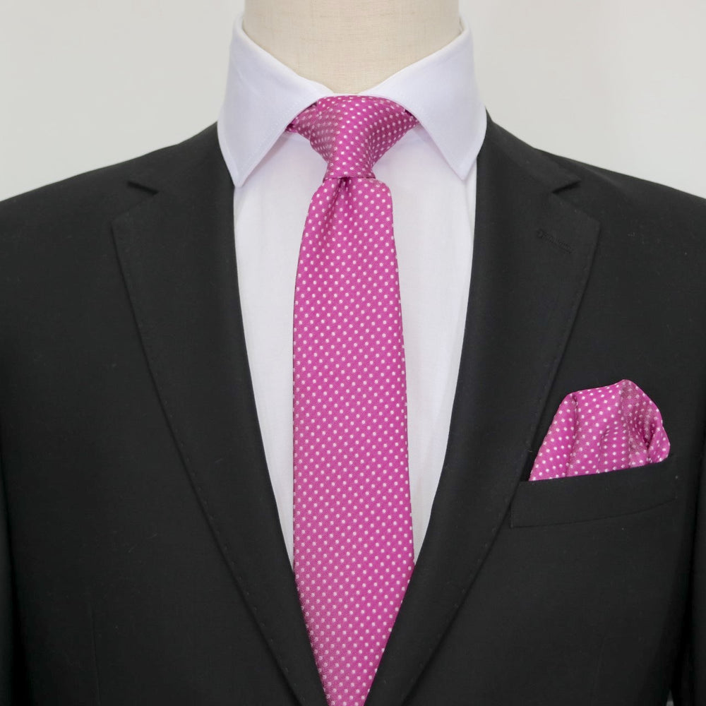 Magenta/White - Mini Spot Microfiber Pocket Square