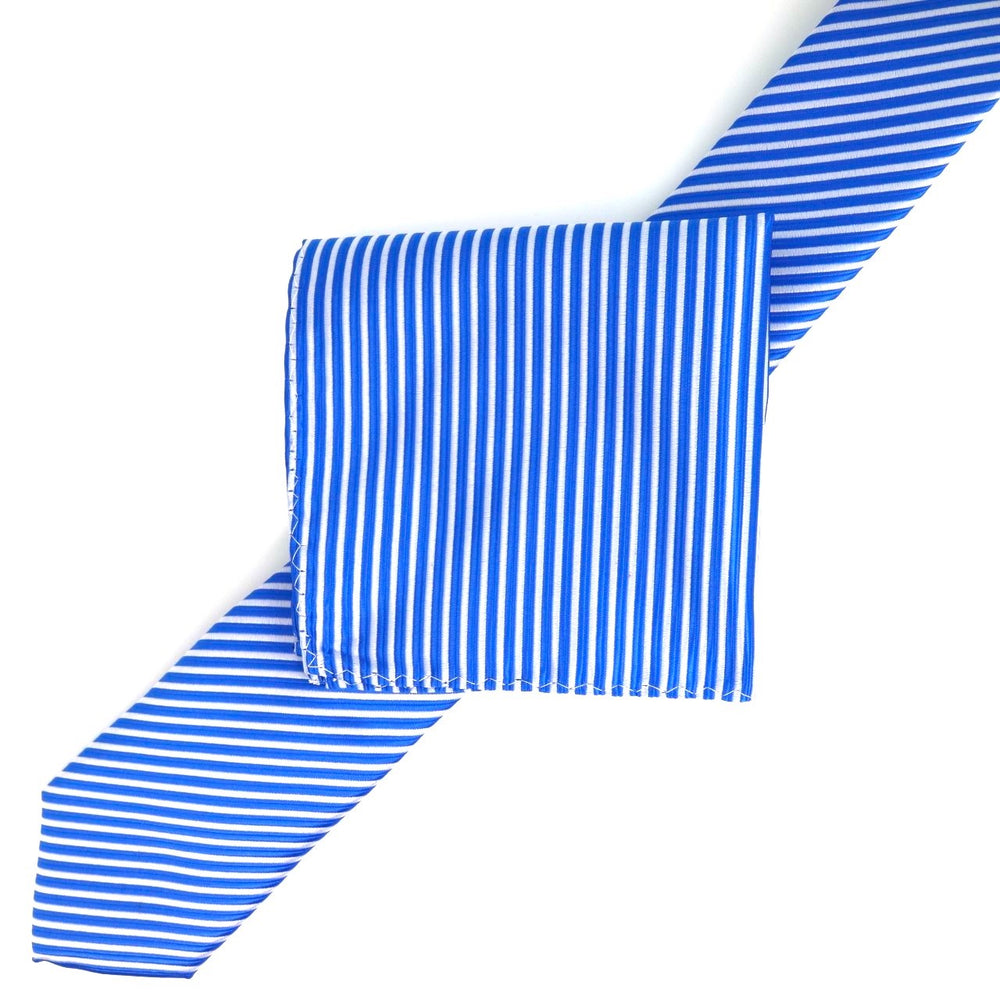 Royal/White - Diagonal Mini Stripe Microfiber Tie