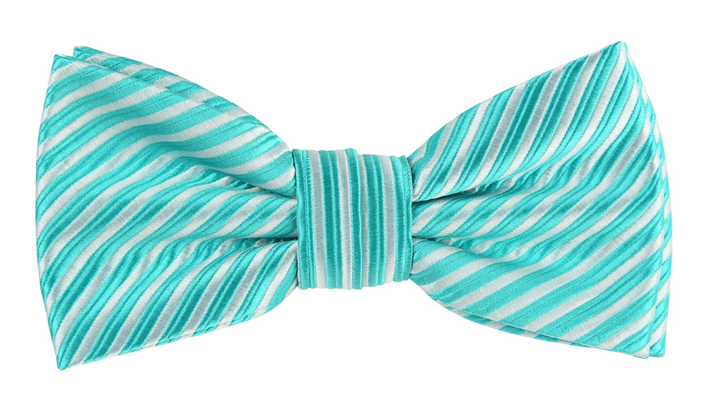 Aqua/White - Diagonal Mini Stripe Microfiber Bow Tie