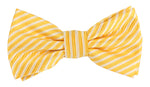 Gold/White - Diagonal Mini Stripe Microfiber Bow Tie