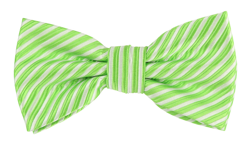 Lime/White - Diagonal Mini Stripe Microfiber Bow Tie