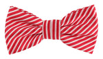 Red/White -Diagonal Mini Stripe Microfiber Bow Tie