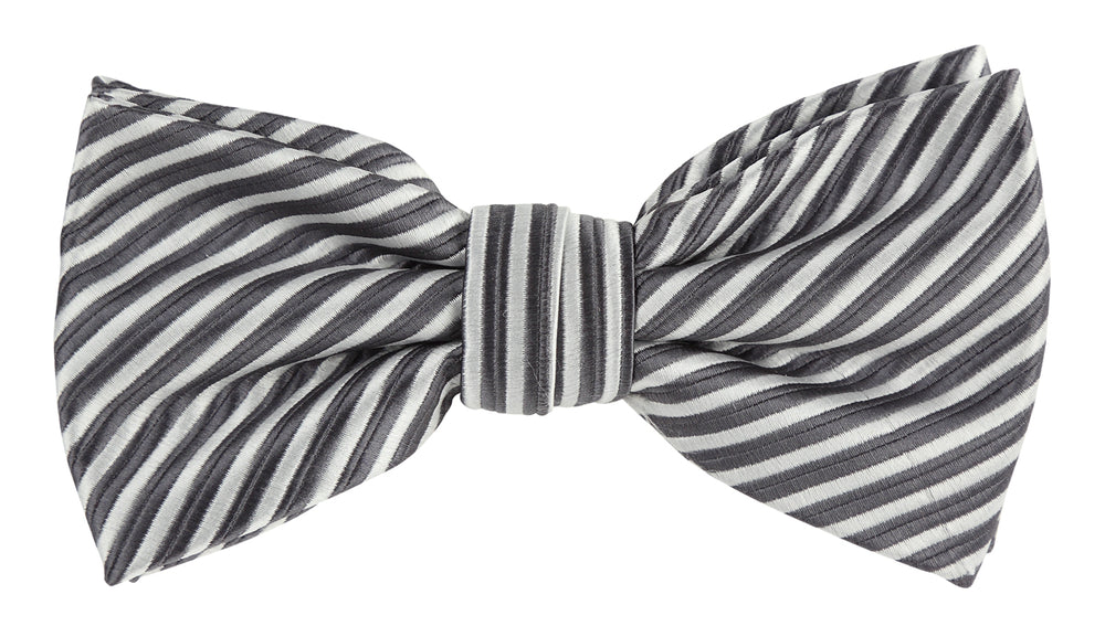 Char/White - Diagonal Mini Stripe Microfiber Bow Tie