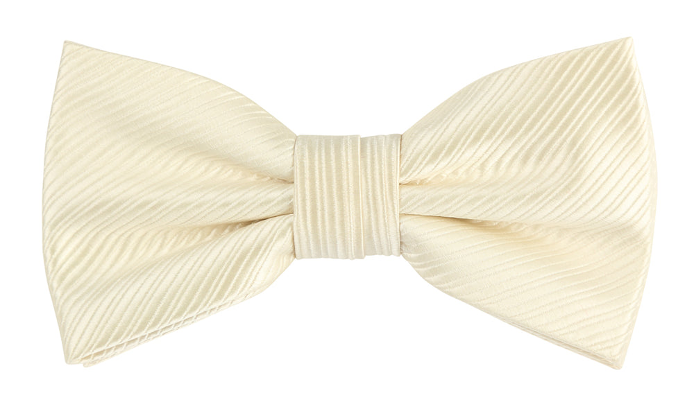 Ivory - Diagonal Mini Stripe Microfiber Bow Tie