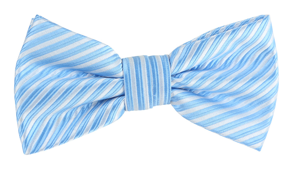 Sky/White - Diagonal Mini Stripe Microfiber Bow Tie