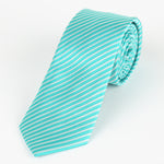 Aqua/White - Diagonal Mini Stripe Microfiber Tie