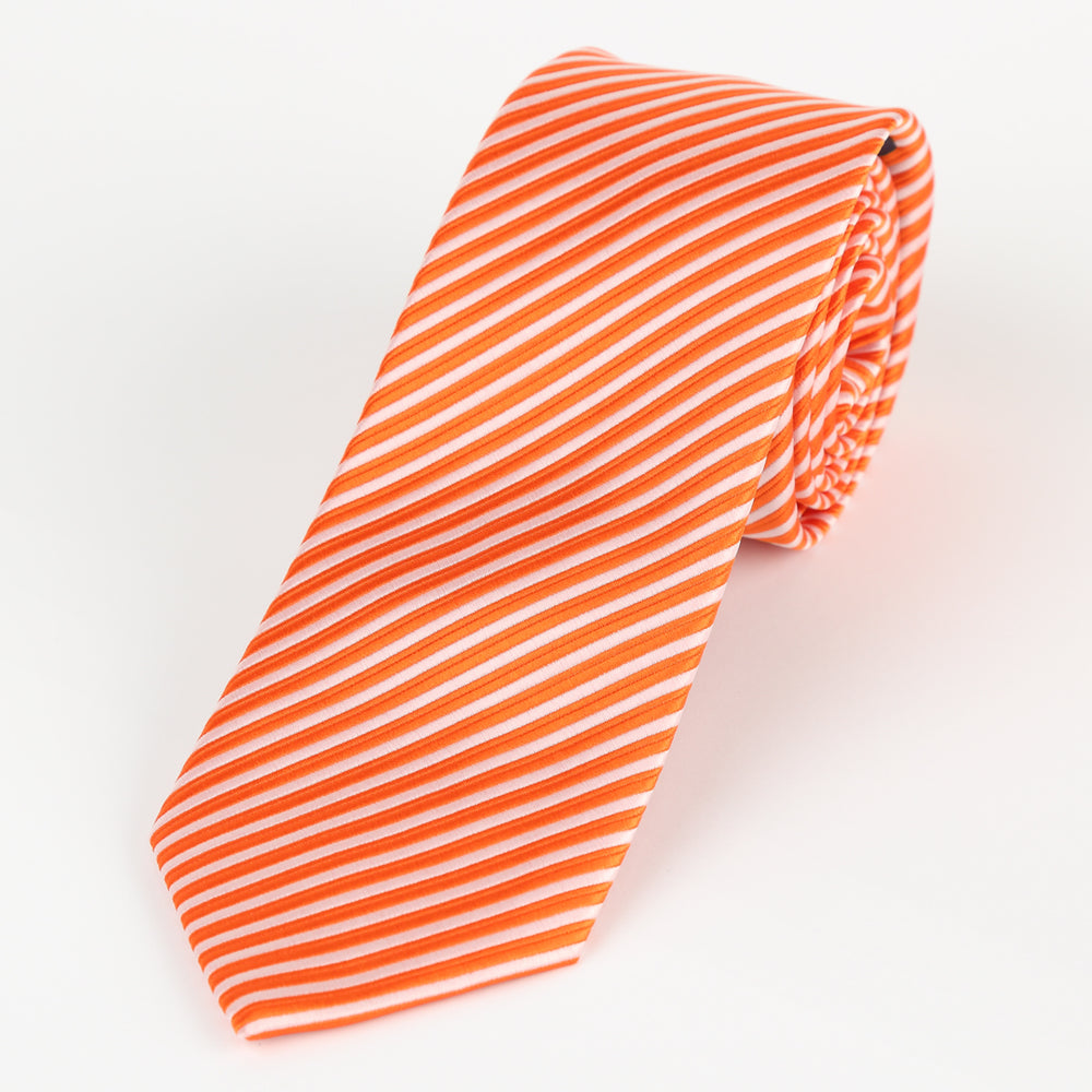 Orange/White - Diagonal Mini Stripe Microfiber Tie