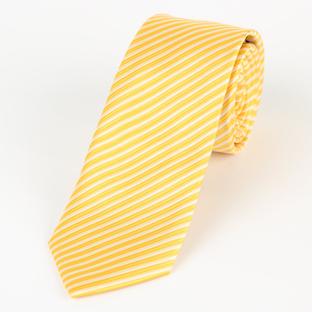 Gold/White - Diagonal Mini Stripe Microfiber Tie
