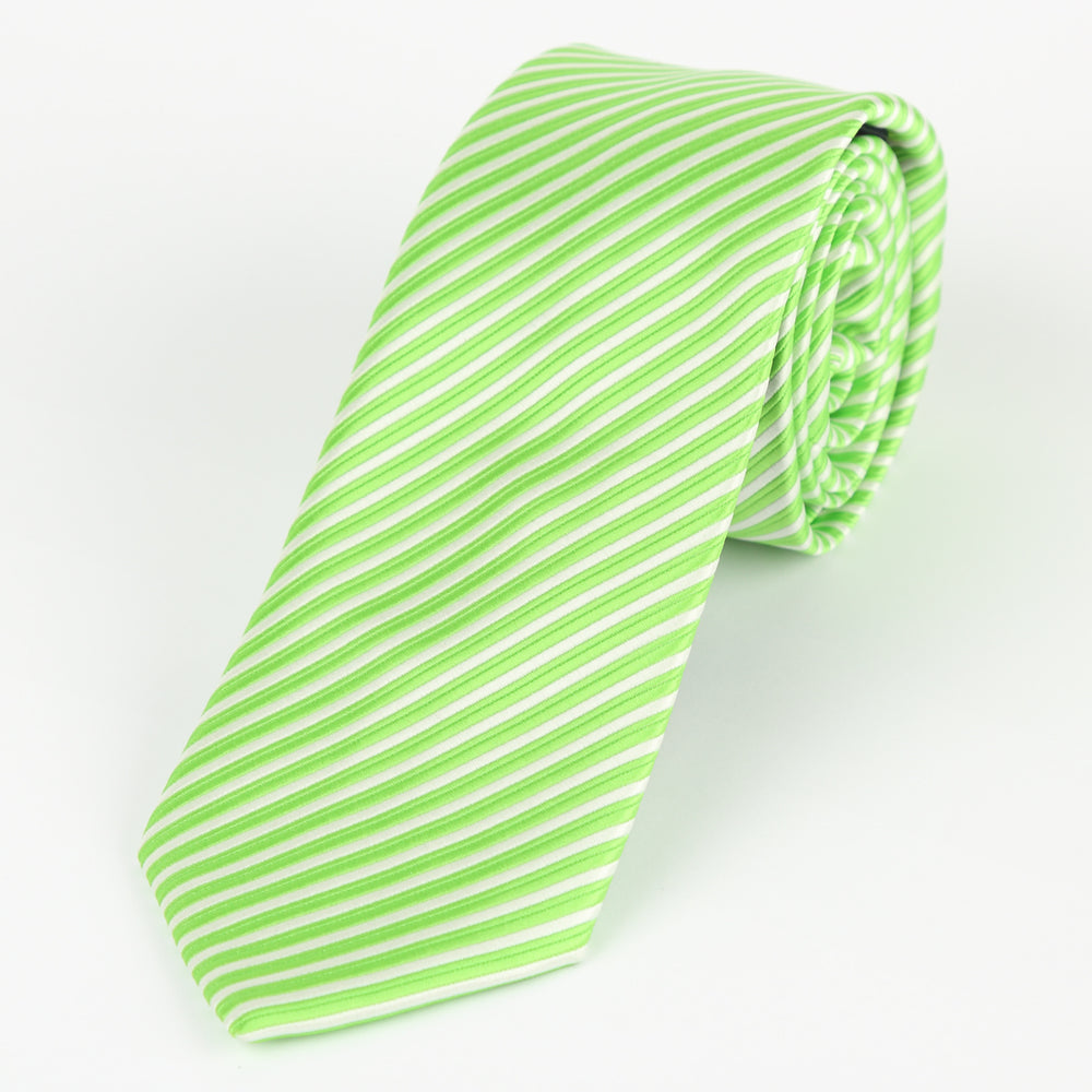 Lime/White - Diagonal Mini Stripe Microfiber Tie
