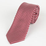 Burg/White - Diagonal Mini Stripe Microfiber Tie