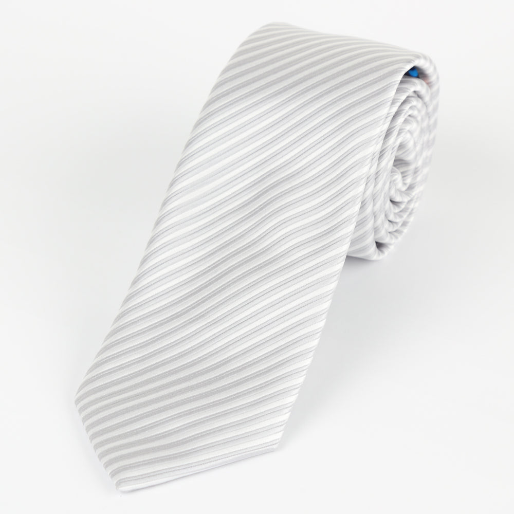 Silver/White - Diagonal Mini Stripe Microfiber Tie