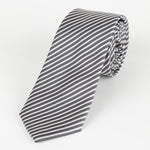 Char/White - Diagonal Mini Stripe Microfiber Tie
