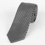 Black/White - Diagonal Mini Stripe Microfiber Tie
