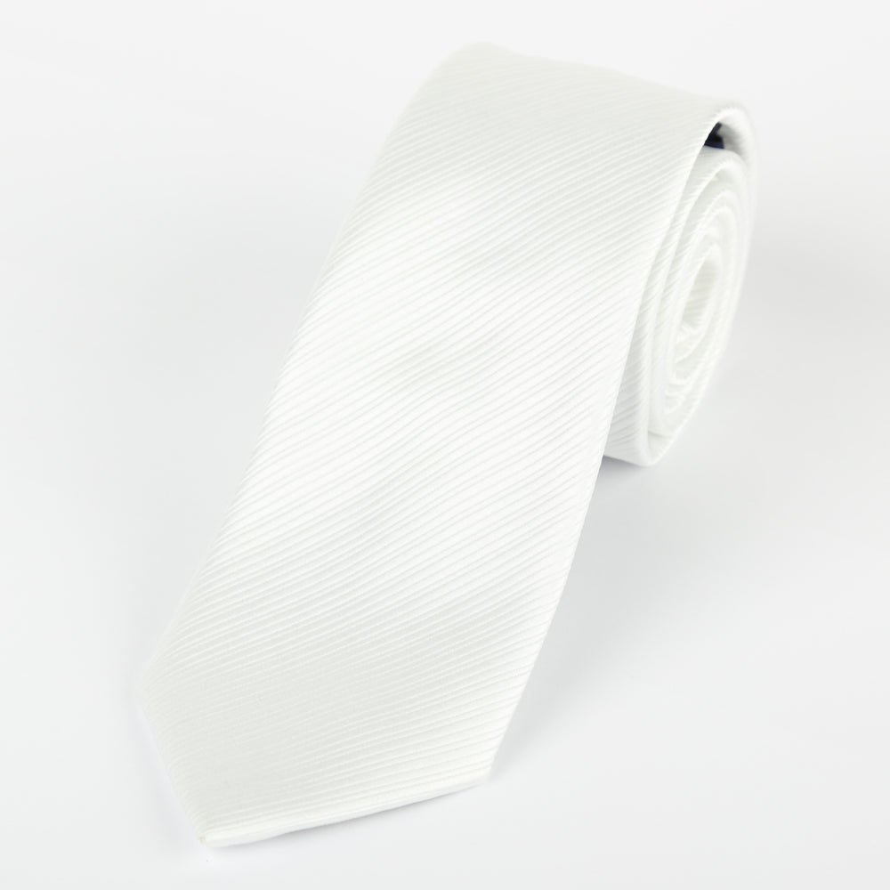 White - Diagonal Mini Stripe Microfiber Tie