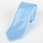 Sky/White - Diagonal Mini Stripe Microfiber Tie