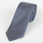 Navy/White - Diagonal Mini Stripe Microfiber Tie