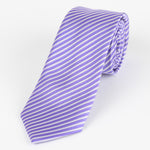 Purple/White - Diagonal Mini Stripe Microfiber Tie