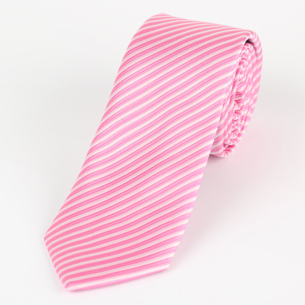 Pink/White - Diagonal Mini Stripe Microfiber Tie